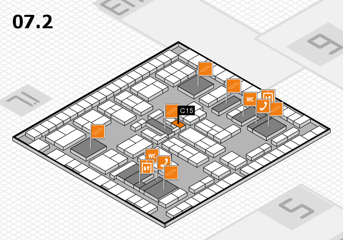 K 2016 hall map (Hall 7, level 2): stand C15