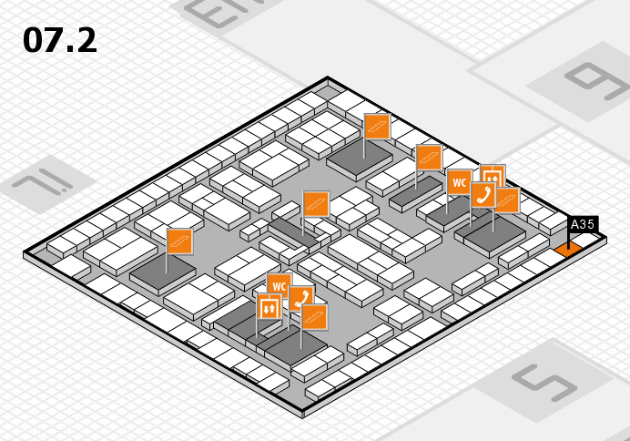 K 2016 hall map (Hall 7, level 2): stand A35