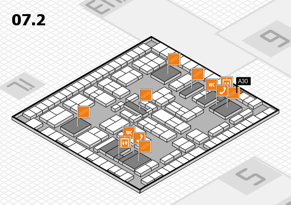 K 2016 hall map (Hall 7, level 2): stand A30