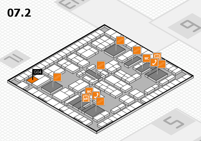 K 2016 hall map (Hall 7, level 2): stand G04