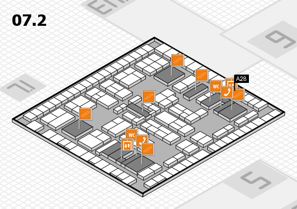 K 2016 hall map (Hall 7, level 2): stand A28