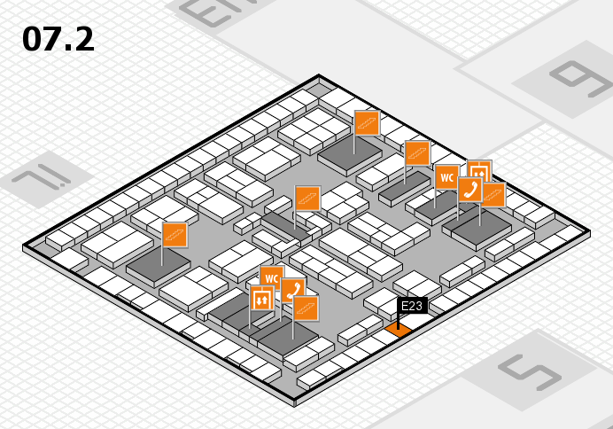 K 2016 hall map (Hall 7, level 2): stand E23
