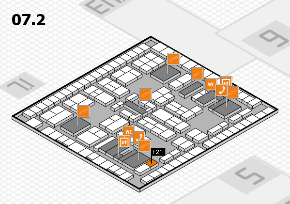 K 2016 hall map (Hall 7, level 2): stand F21