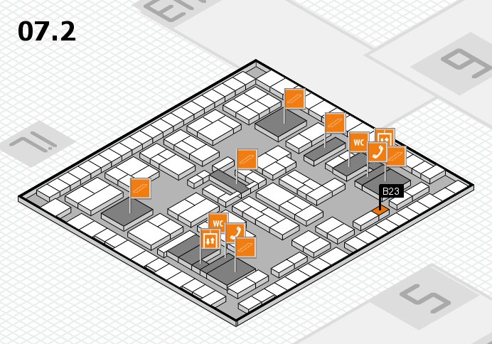 K 2016 hall map (Hall 7, level 2): stand B23