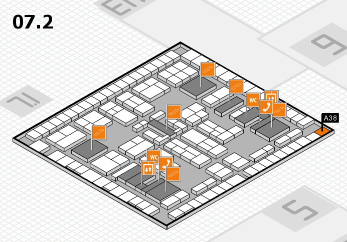 K 2016 hall map (Hall 7, level 2): stand A38