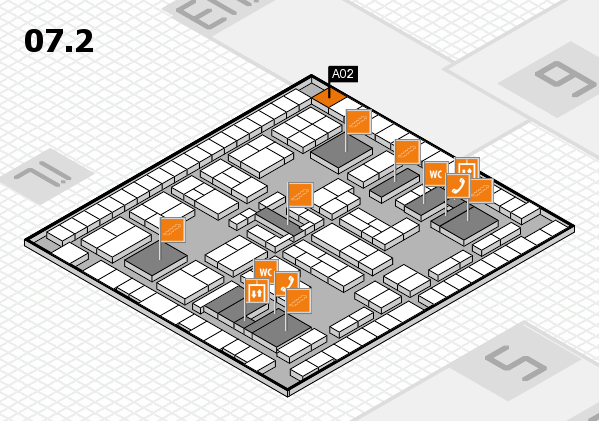 K 2016 hall map (Hall 7, level 2): stand A02