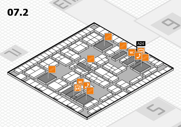 K 2016 hall map (Hall 7, level 2): stand A24