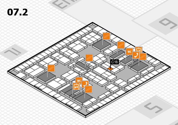 K 2016 hall map (Hall 7, level 2): stand C18