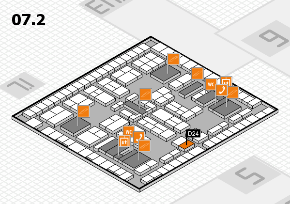 K 2016 hall map (Hall 7, level 2): stand D24