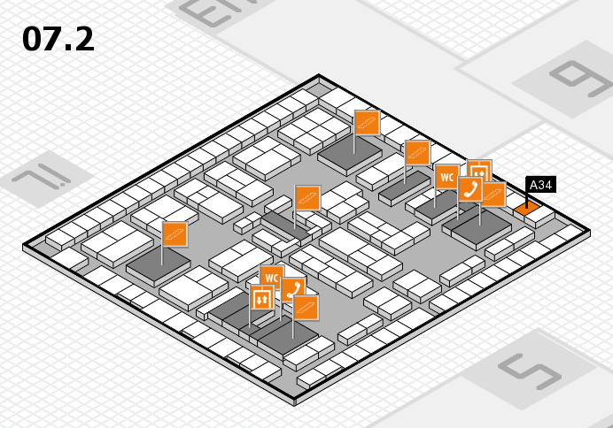 K 2016 hall map (Hall 7, level 2): stand A34