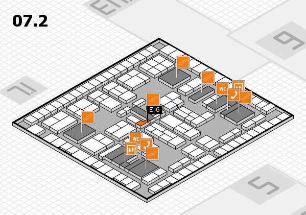 K 2016 hall map (Hall 7, level 2): stand E16