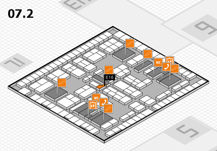 K 2016 hall map (Hall 7, level 2): stand E16