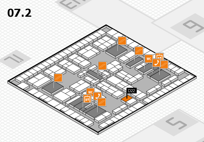 K 2016 hall map (Hall 7, level 2): stand D22