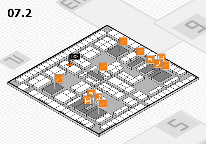 K 2016 hall map (Hall 7, level 2): stand D08