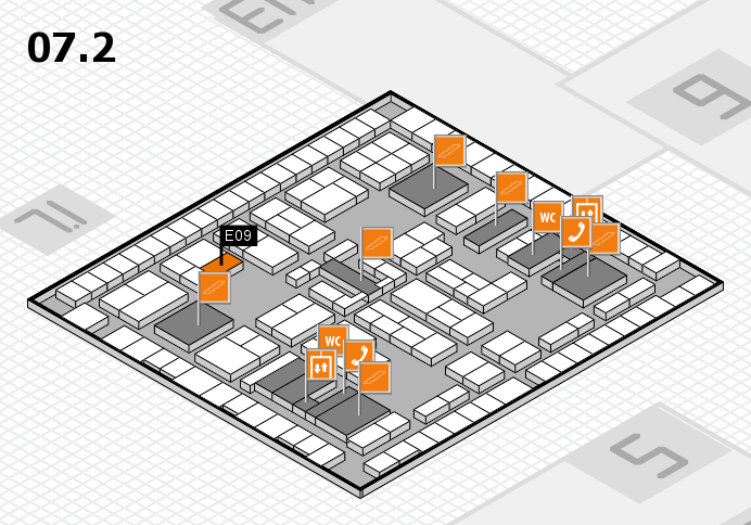 K 2016 hall map (Hall 7, level 2): stand E09