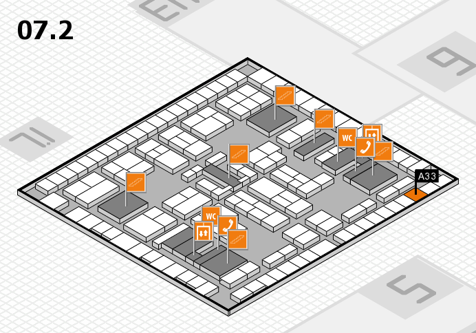 K 2016 hall map (Hall 7, level 2): stand A33