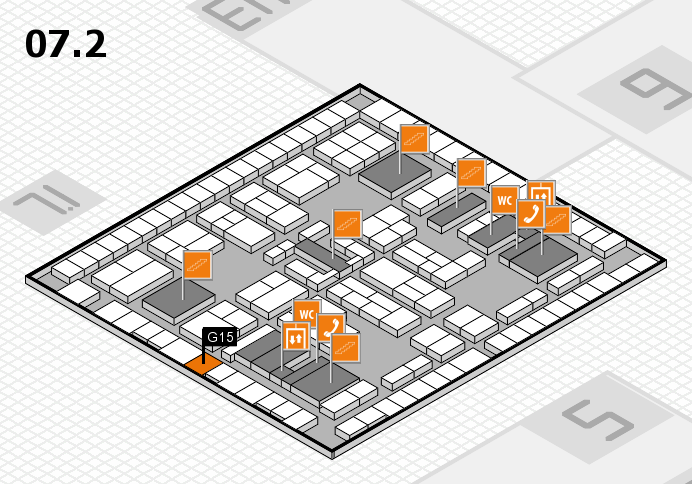 K 2016 hall map (Hall 7, level 2): stand G15