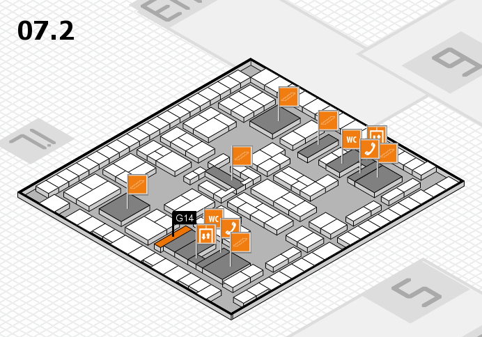 K 2016 hall map (Hall 7, level 2): stand G14