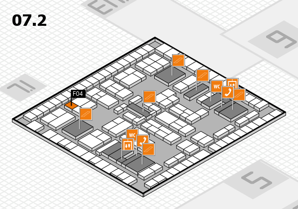 K 2016 hall map (Hall 7, level 2): stand F04
