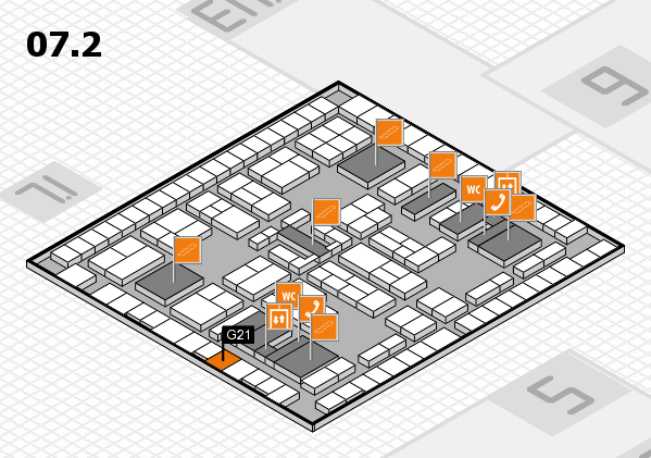 K 2016 hall map (Hall 7, level 2): stand G21