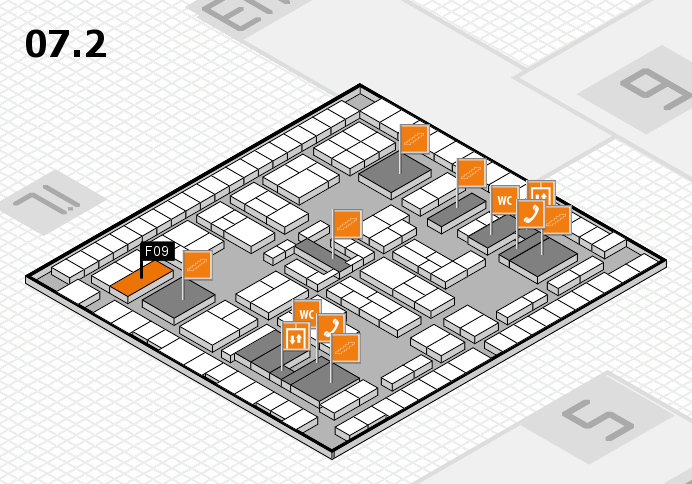 K 2016 hall map (Hall 7, level 2): stand F09