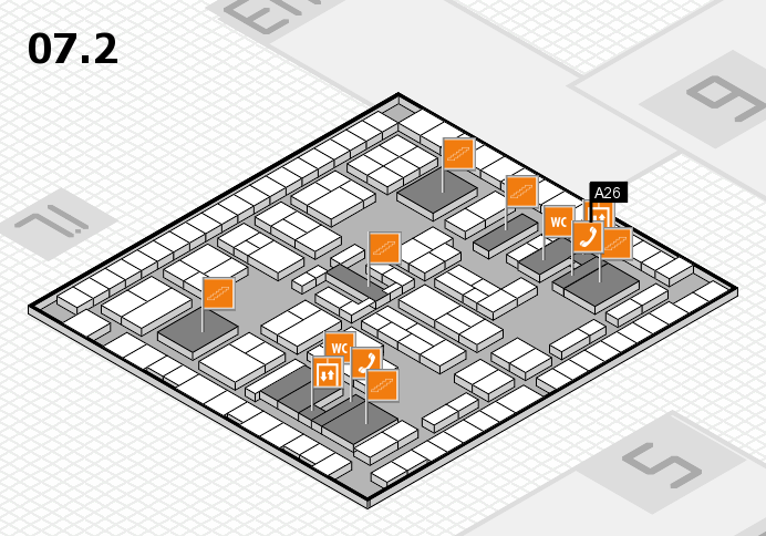 K 2016 hall map (Hall 7, level 2): stand A26