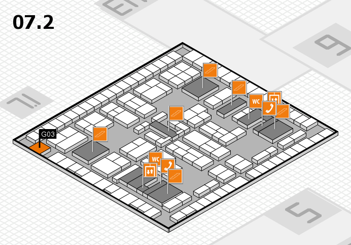 K 2016 hall map (Hall 7, level 2): stand G03
