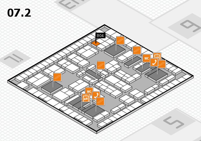 K 2016 hall map (Hall 7, level 2): stand B04