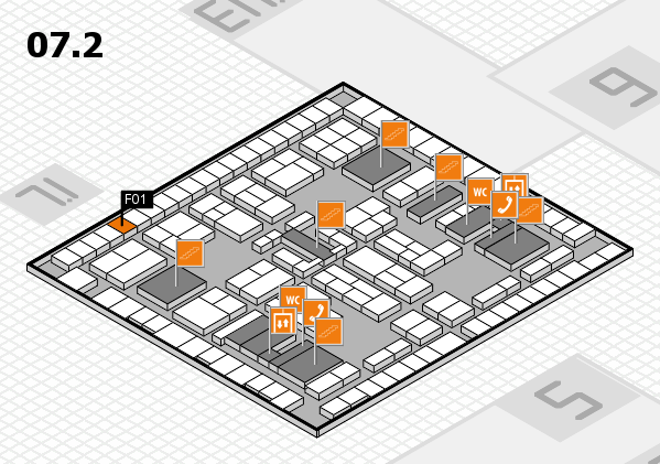 K 2016 hall map (Hall 7, level 2): stand F01