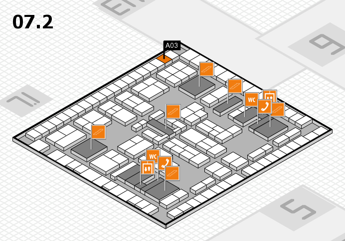 K 2016 hall map (Hall 7, level 2): stand A03