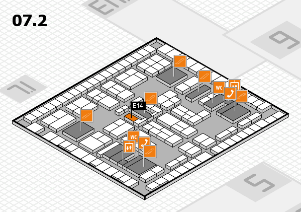 K 2016 hall map (Hall 7, level 2): stand E14