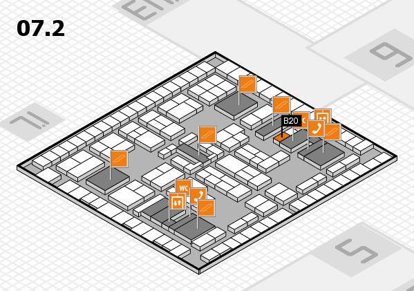 K 2016 hall map (Hall 7, level 2): stand B20