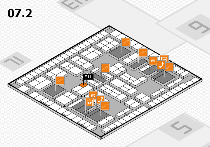 K 2016 hall map (Hall 7, level 2): stand E11