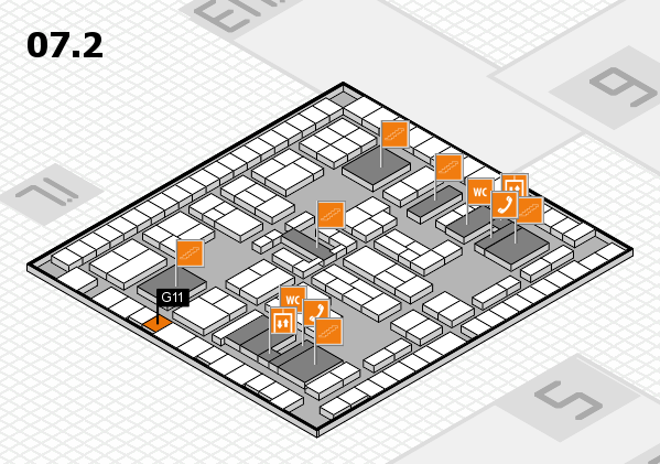 K 2016 hall map (Hall 7, level 2): stand G11
