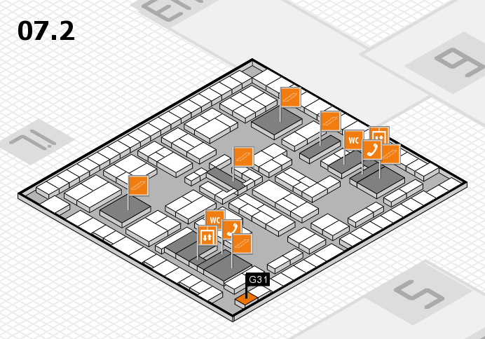 K 2016 hall map (Hall 7, level 2): stand G31