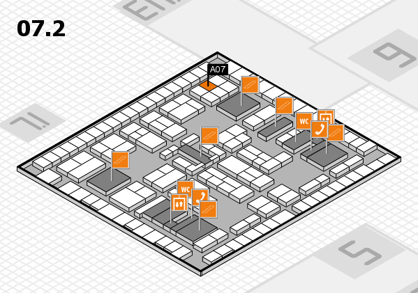 K 2016 hall map (Hall 7, level 2): stand A07