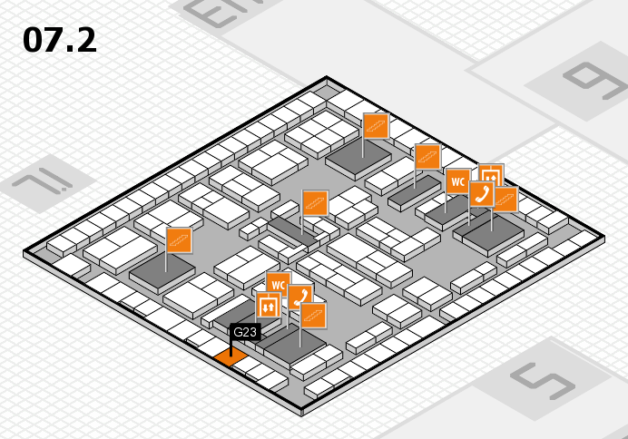 K 2016 hall map (Hall 7, level 2): stand G23
