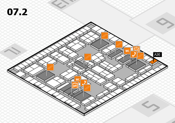 K 2016 hall map (Hall 7, level 2): stand A36