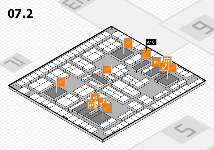 K 2016 hall map (Hall 7, level 2): stand A18