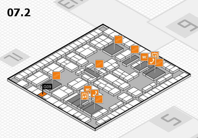 K 2016 hall map (Hall 7, level 2): stand G09