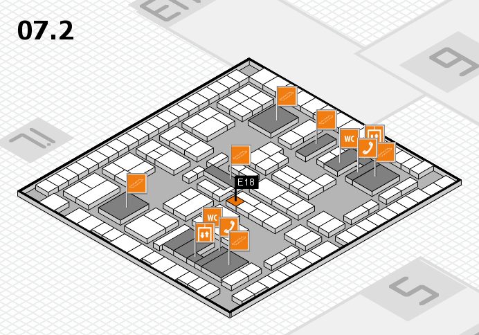 K 2016 hall map (Hall 7, level 2): stand E18