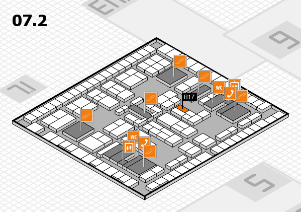 K 2016 hall map (Hall 7, level 2): stand B17