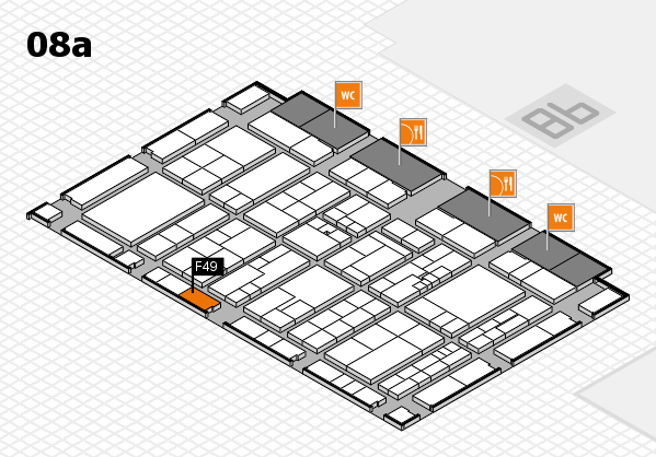 K 2016 hall map (Hall 8a): stand F49