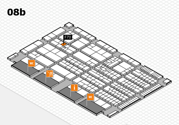 K 2016 hall map (Hall 8b): stand F70
