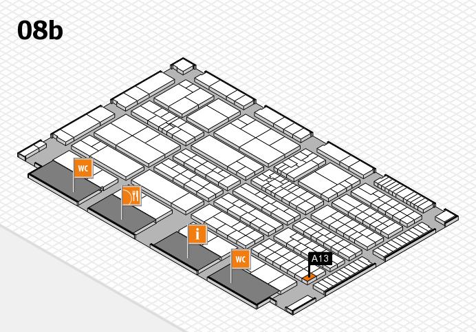 K 2016 hall map (Hall 8b): stand A13