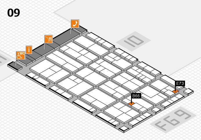 K 2016 hall map (Hall 9): stand B66, stand E73