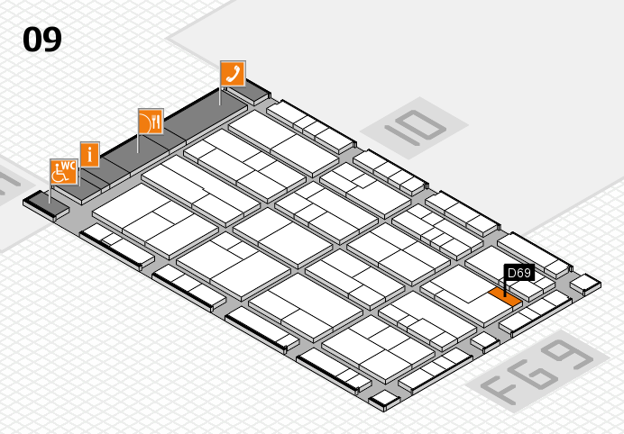 K 2016 hall map (Hall 9): stand D69