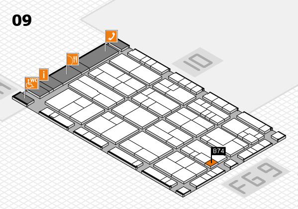 K 2016 hall map (Hall 9): stand B74