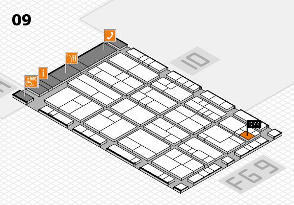 K 2016 hall map (Hall 9): stand D74