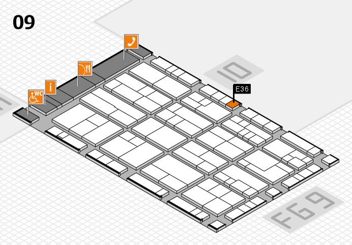 K 2016 hall map (Hall 9): stand E36